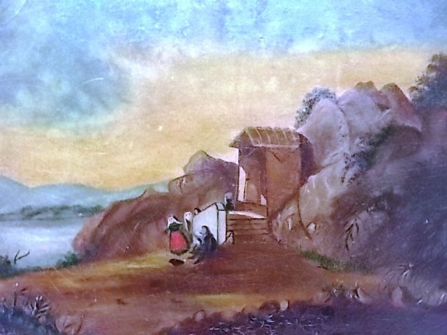 ANTIQUE OIL LANDSCAPE ON BOARD PAINTING - 3