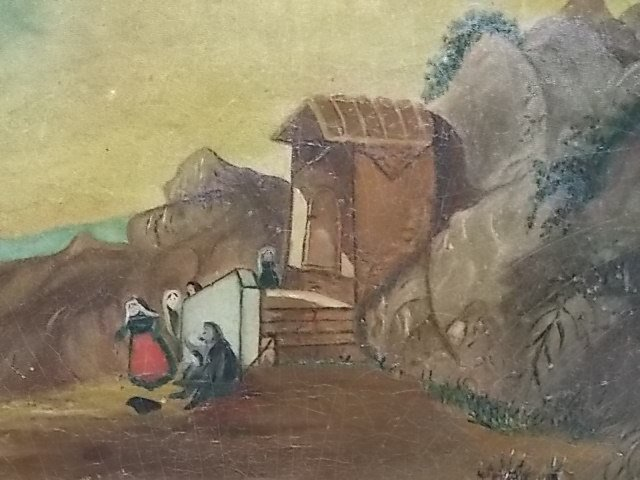 ANTIQUE OIL LANDSCAPE ON BOARD PAINTING - 4