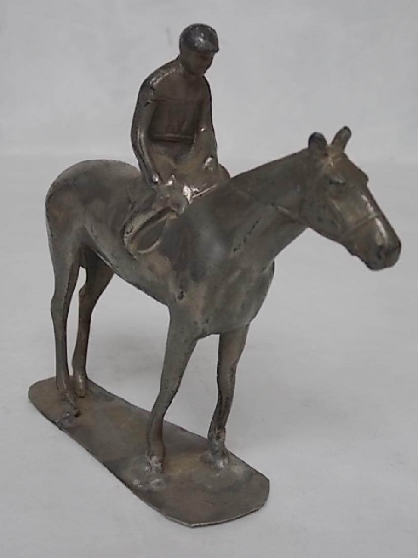 VINTAGE ANTIQUE HORSE & JOCKEY TOY LEAD FIGURE BRITISH - 3