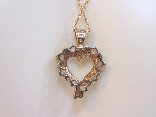 Vintage Sterling Silver Necklace & Heart Pendant - 2
