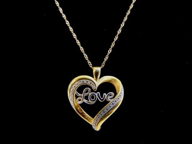 Vintage Sterling Silver Necklace & Heart Love Pendant