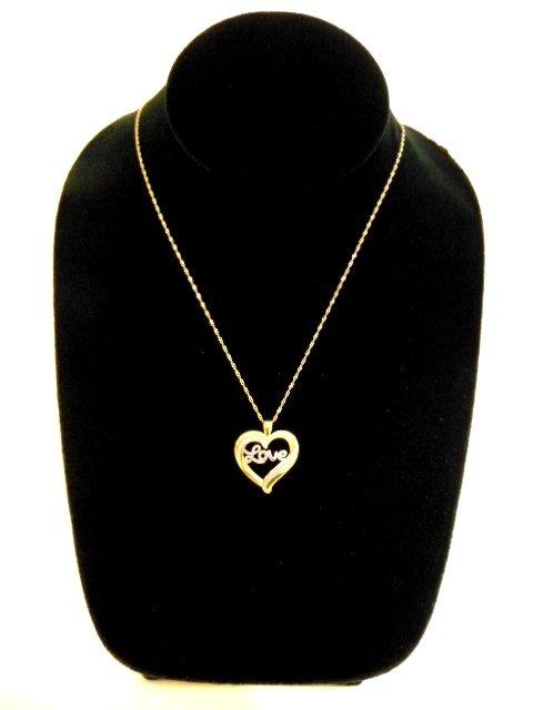 Vintage Sterling Silver Necklace & Heart Love Pendant - 2