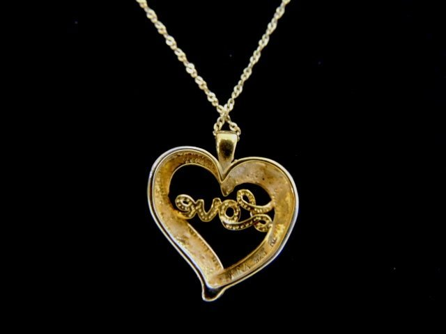 Vintage Sterling Silver Necklace & Heart Love Pendant - 3