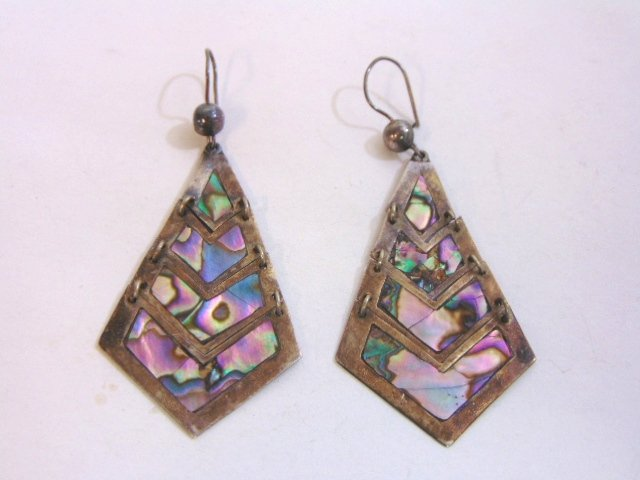 Womens Vintage Sterling Silver Earrings w/ Abalone