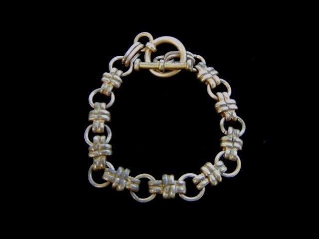 Vintage Estate Sterling Silver Chain Charm Bracelet