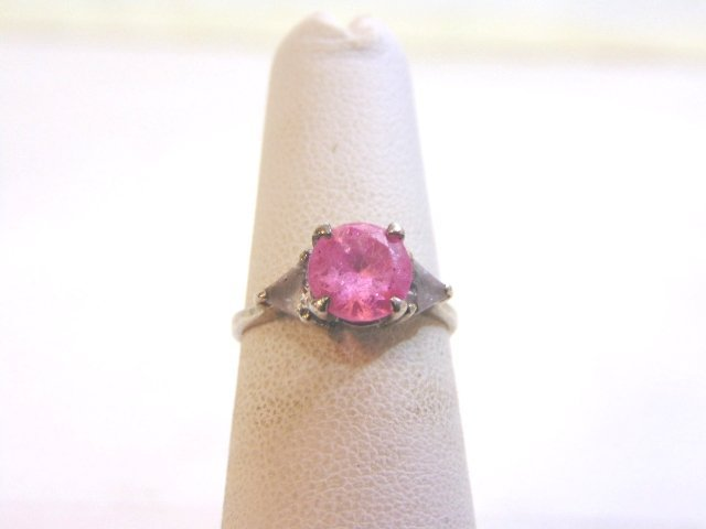 Womens Vintage Estate Sterling Silver w/ Pink Stone