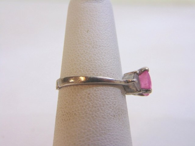 Womens Vintage Estate Sterling Silver w/ Pink Stone - 2