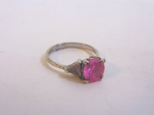 Womens Vintage Estate Sterling Silver w/ Pink Stone - 5