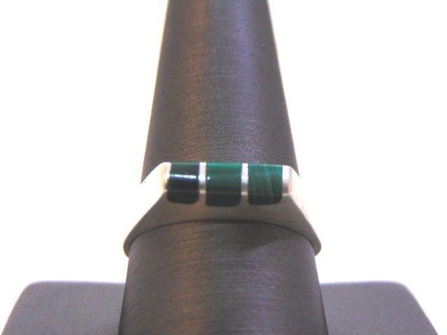 Mens Sterling Silver Ring w/ Malachite