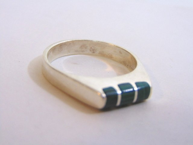 Mens Sterling Silver Ring w/ Malachite - 5