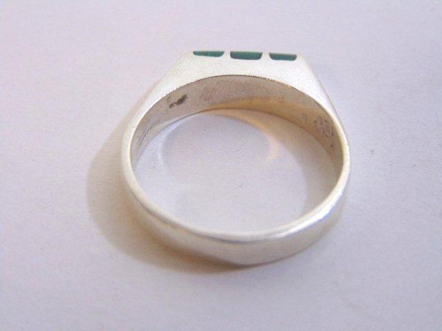 Mens Sterling Silver Ring w/ Malachite - 6