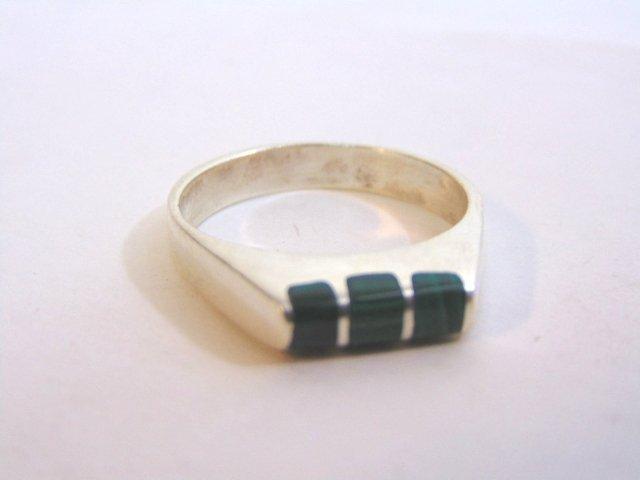 Mens Sterling Silver Ring w/ Malachite - 7