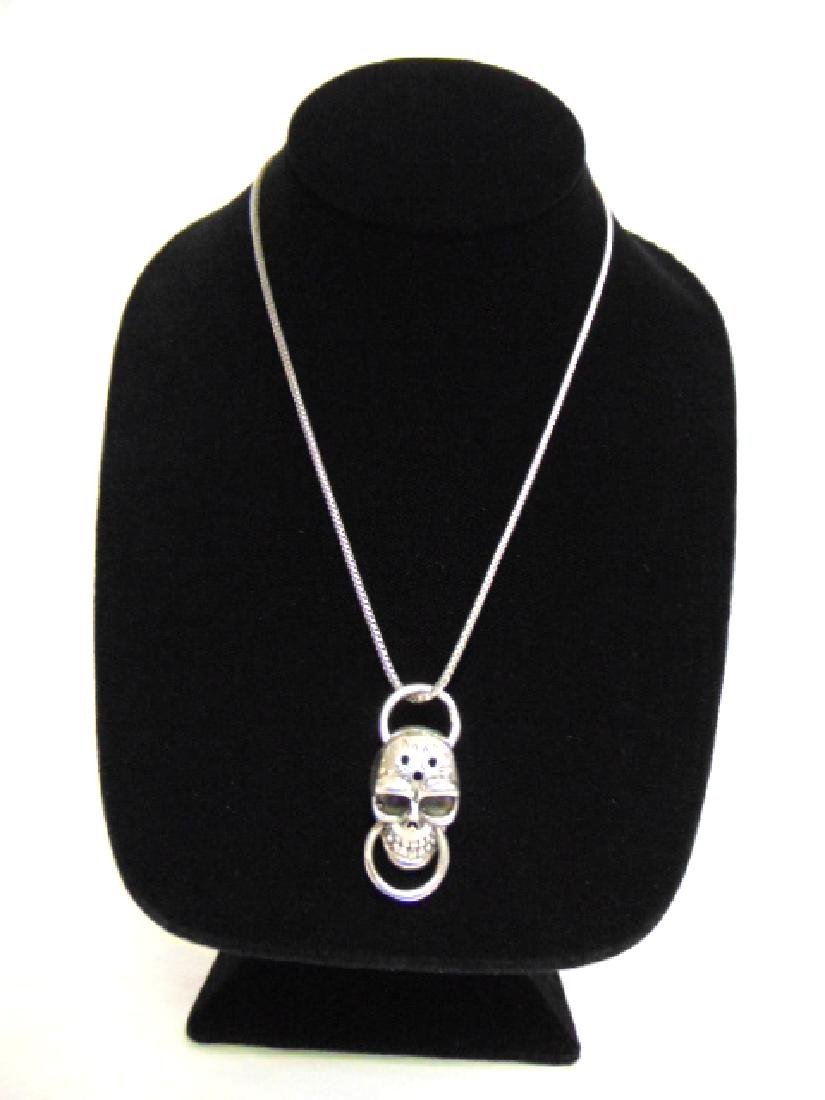 Sterling Silver Gothic Skull Pendant w/ Necklace
