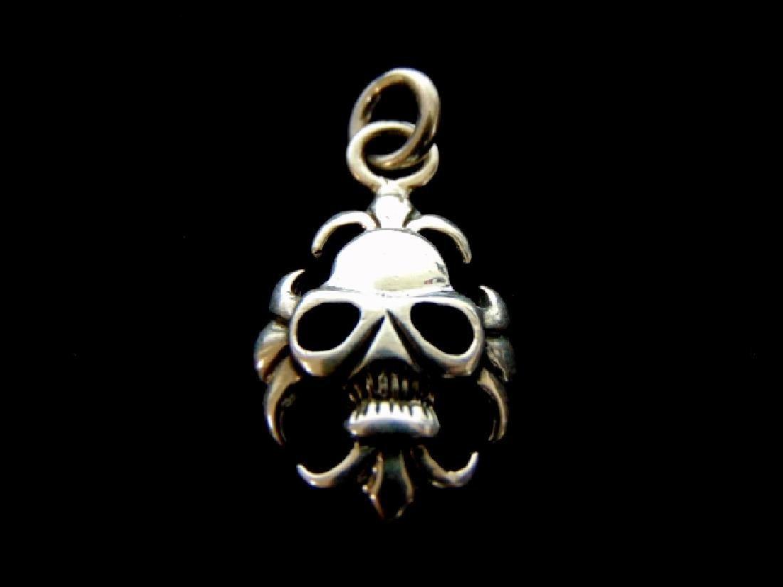 Sterling Silver Fleur De Lis Skull Pendant