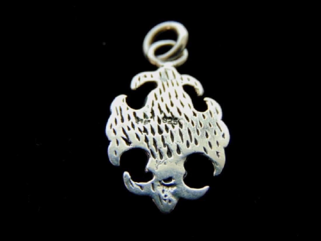 Sterling Silver Fleur De Lis Skull Pendant - 2