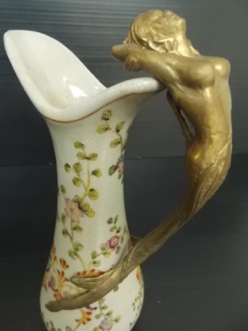 ART NOUVEAU PORCELAIN & BRONZE MERMAID PITCHER - 5