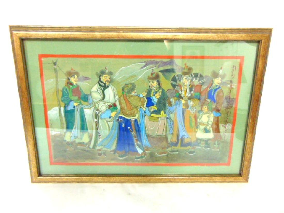 EXQUISITE VINTAGE ANTIQUE CHINESE MONGOLIAN PAINTING