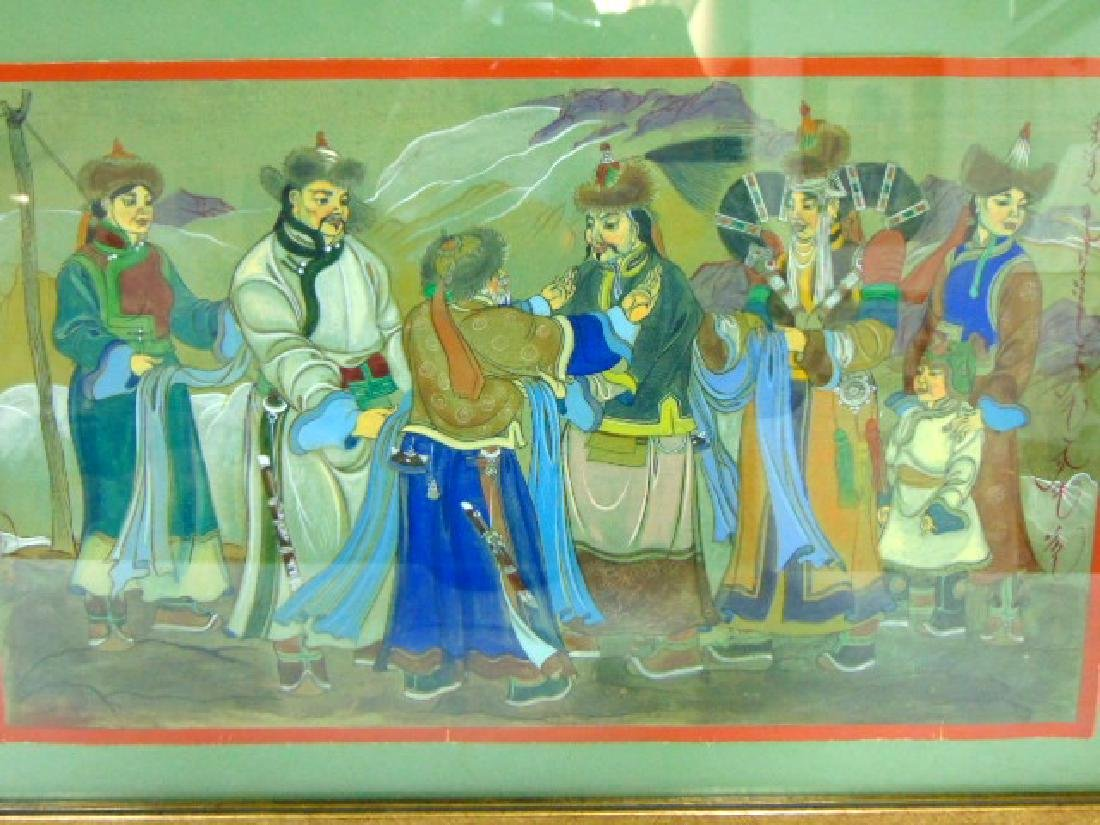 EXQUISITE VINTAGE ANTIQUE CHINESE MONGOLIAN PAINTING - 2