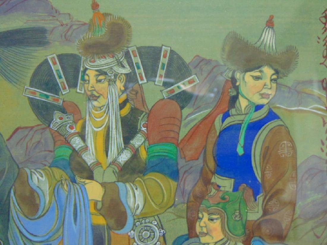 EXQUISITE VINTAGE ANTIQUE CHINESE MONGOLIAN PAINTING - 8