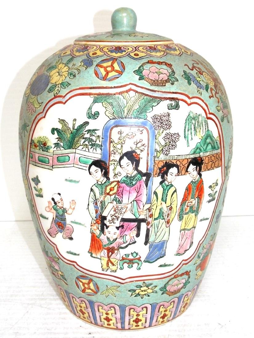 VINTAGE CHINESE GINGER JAR WITH RAISED PAINT - 2