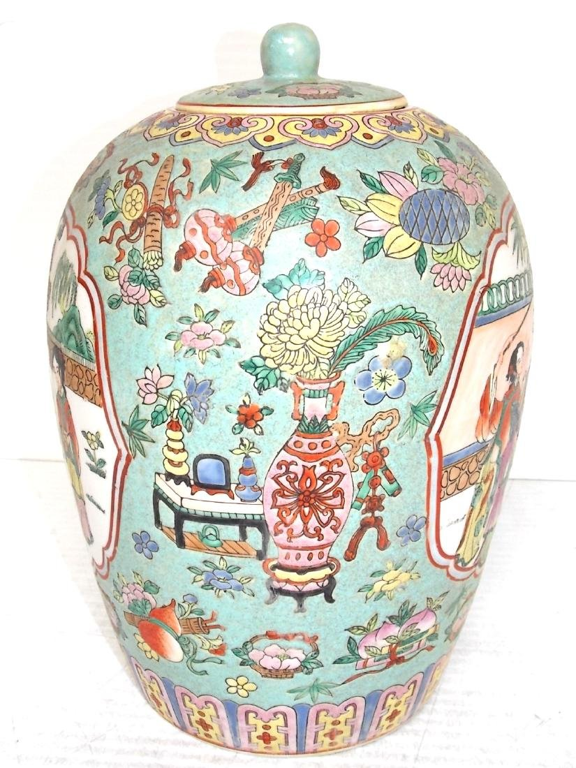 VINTAGE CHINESE GINGER JAR WITH RAISED PAINT - 3