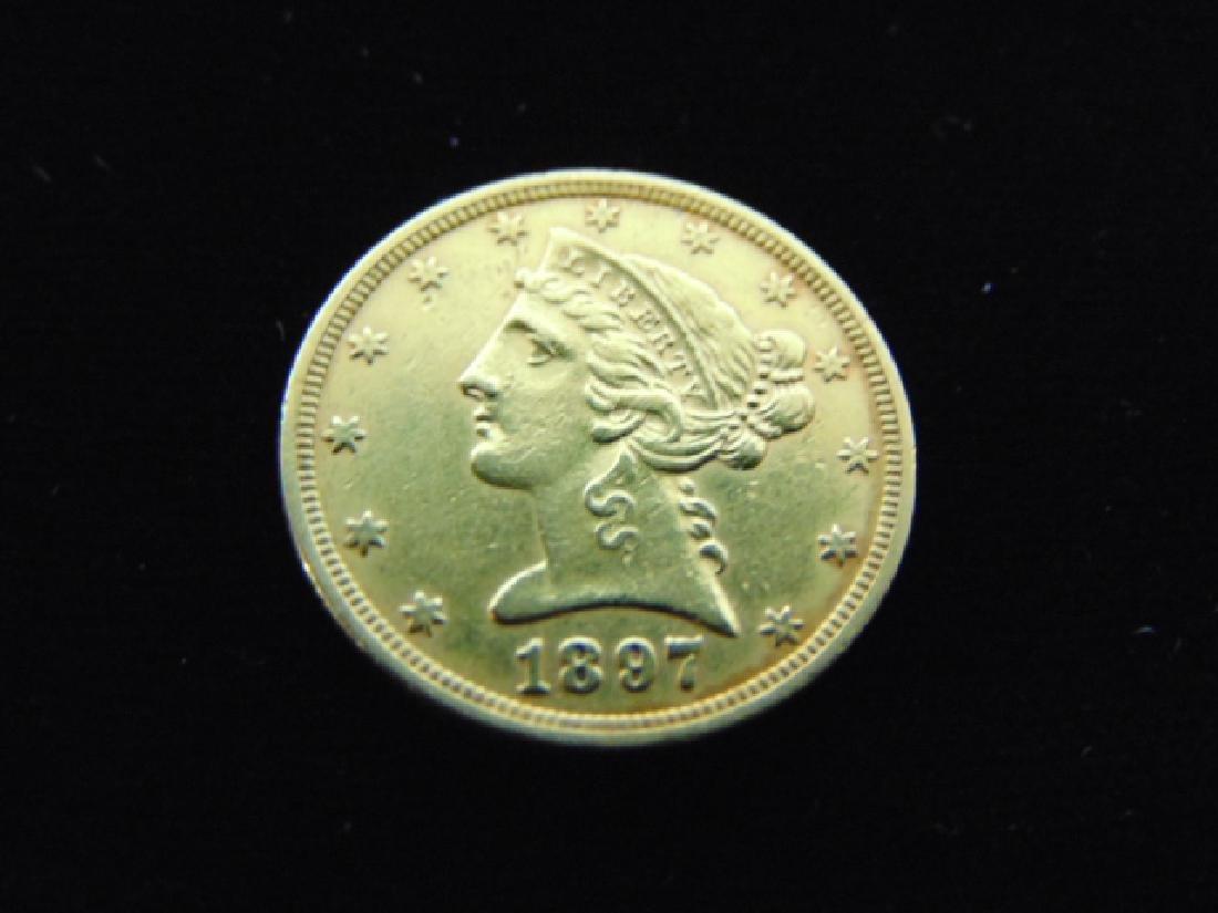 ESTATE FIND 1897 $5 LIBERTY HALF EAGLE GOLD COIN