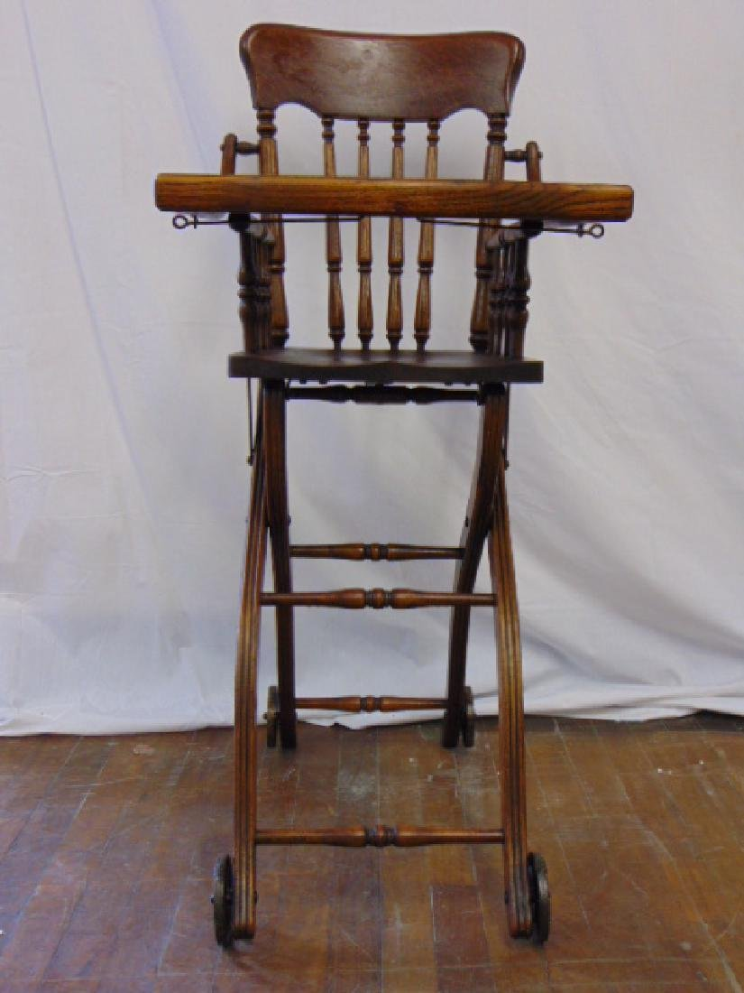 ANTIQUE OAK HEYWOOD WAKEFIELD BABY HIGH CHAIR - 3