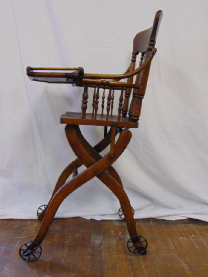 ANTIQUE OAK HEYWOOD WAKEFIELD BABY HIGH CHAIR - 4