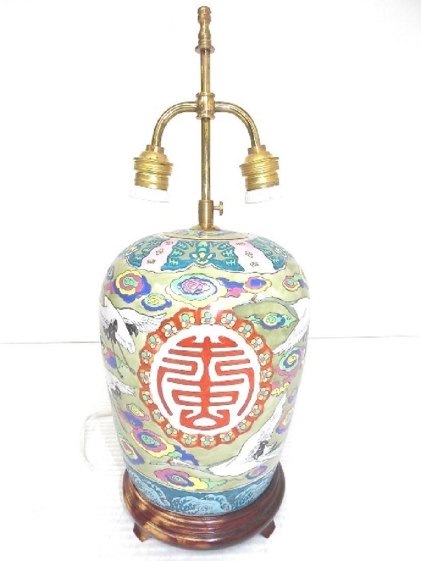HAND PAINTED GINGER JAR LAMP W/ CRANE