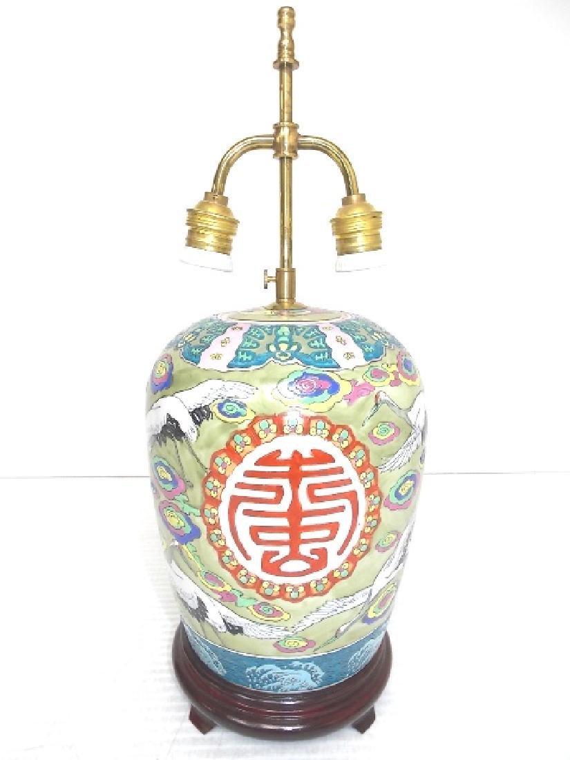 HAND PAINTED GINGER JAR LAMP W/ CRANE - 2