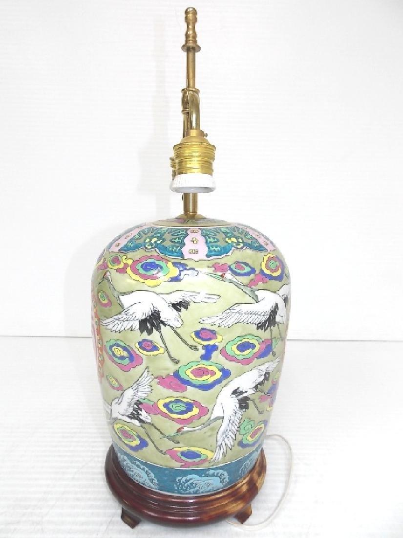 HAND PAINTED GINGER JAR LAMP W/ CRANE - 3