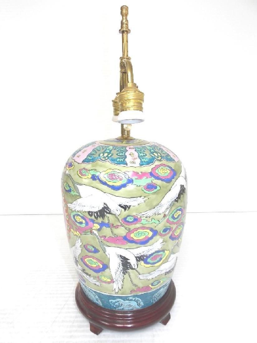 HAND PAINTED GINGER JAR LAMP W/ CRANE - 4