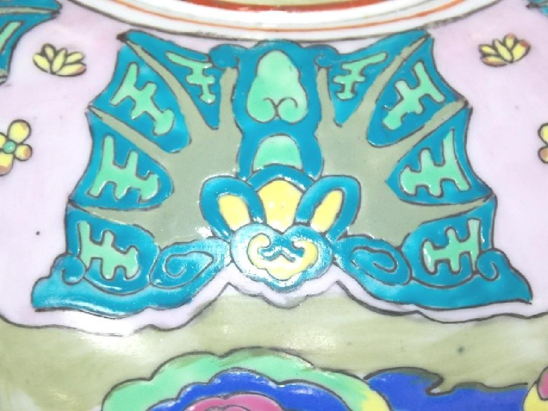 HAND PAINTED GINGER JAR LAMP W/ CRANE - 8