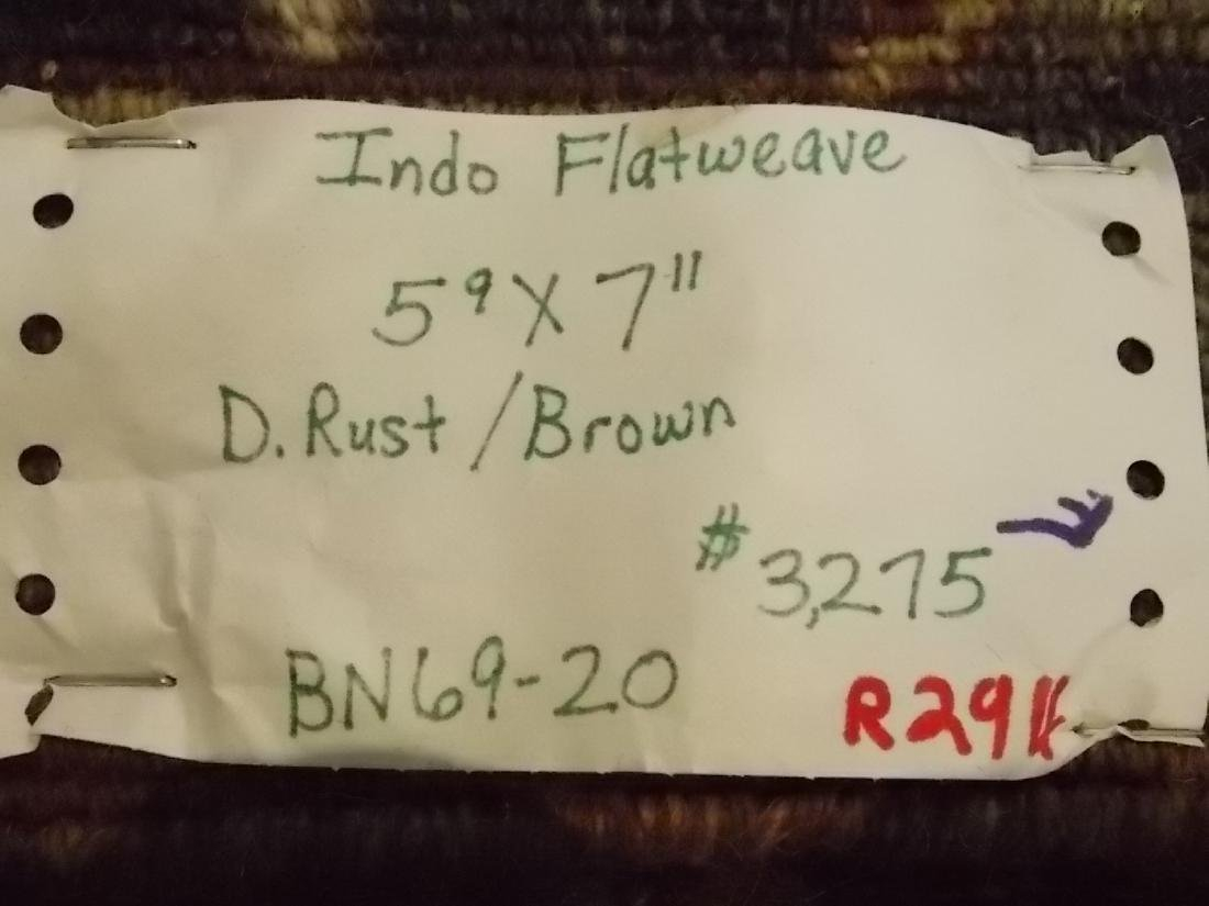 HANDMADE INDO SUMACK FLATWEAVE RUG 5.9 X 8 RUST/BROWN - 5