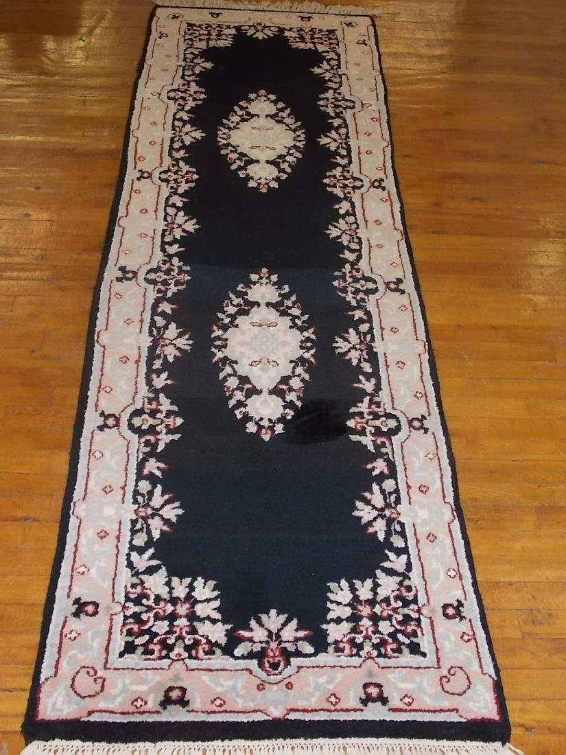 HANDMADE INDIA RUG 2.6 X 8.4 BLACK/PEACH - 2