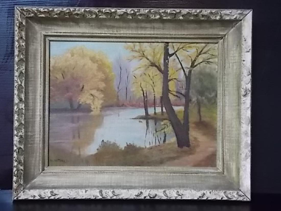 VINTAGE AUTUMN SCENE OIL PAINTING ON BOARD SIGNED
