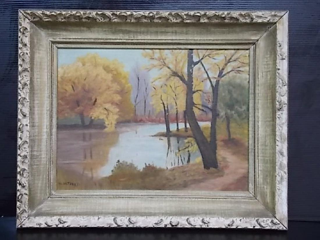 VINTAGE AUTUMN SCENE OIL PAINTING ON BOARD SIGNED - 2
