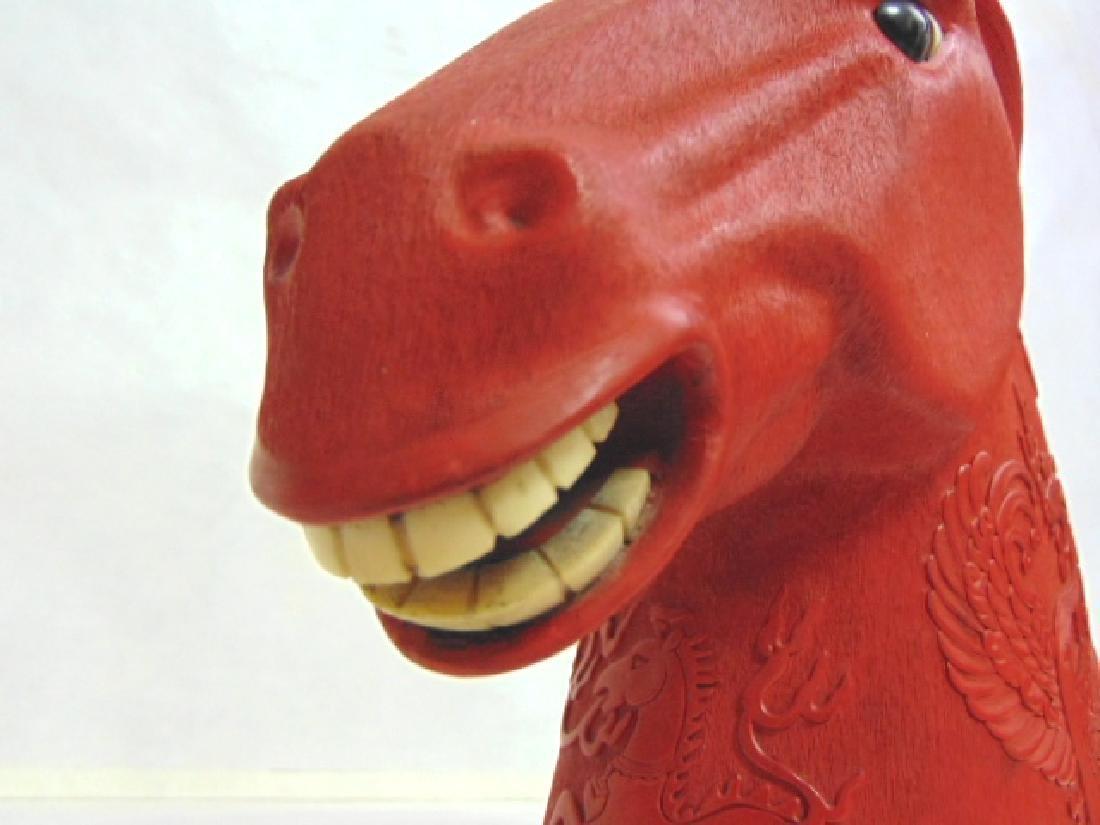 Vintage Chinese Cinnabar Tang Dynasty Horse Head - 10