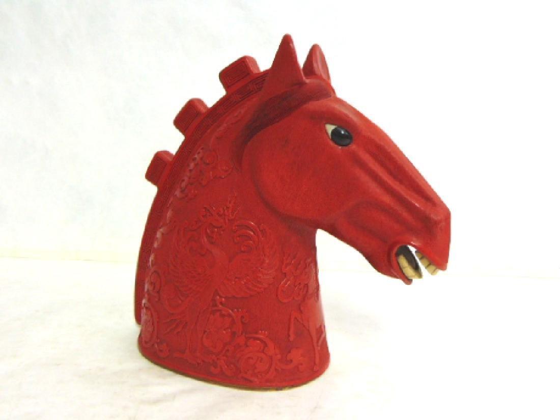 Vintage Chinese Cinnabar Tang Dynasty Horse Head - 2