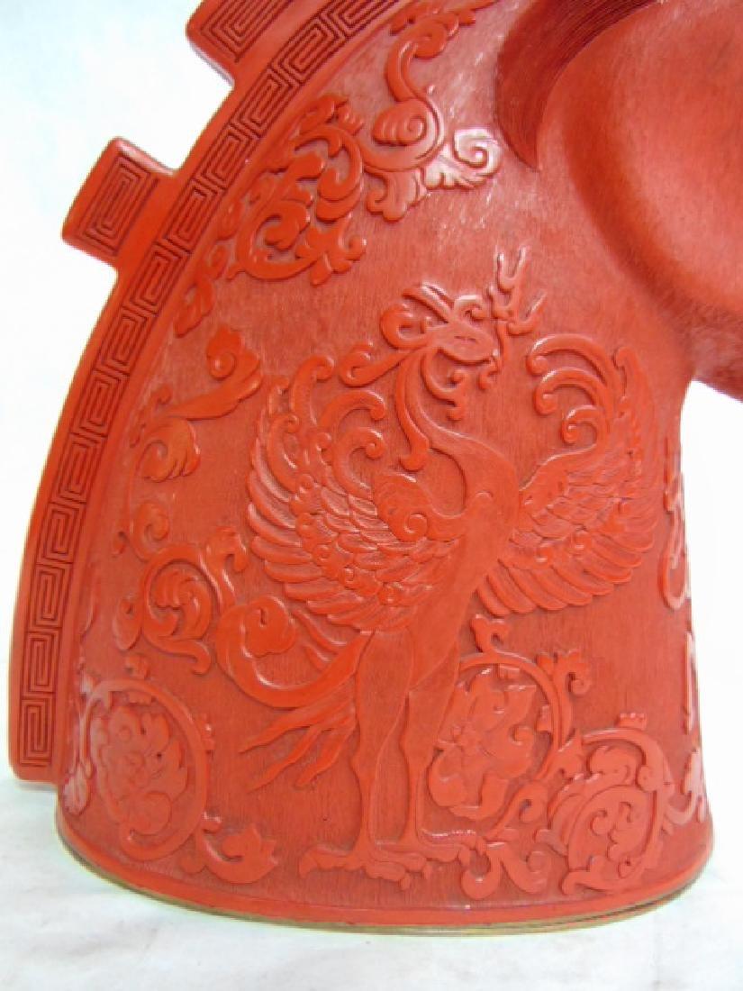 Vintage Chinese Cinnabar Tang Dynasty Horse Head - 3