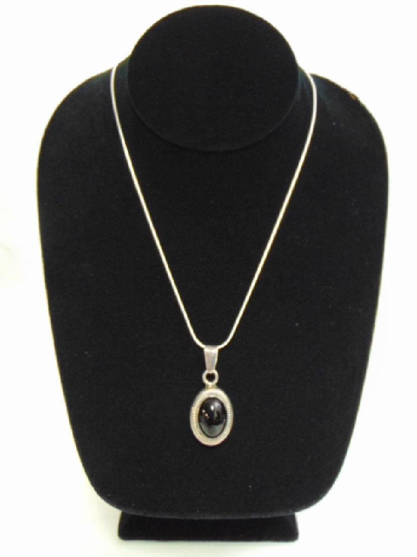 Sterling Silver Necklace w/ Onyx ? Pendant