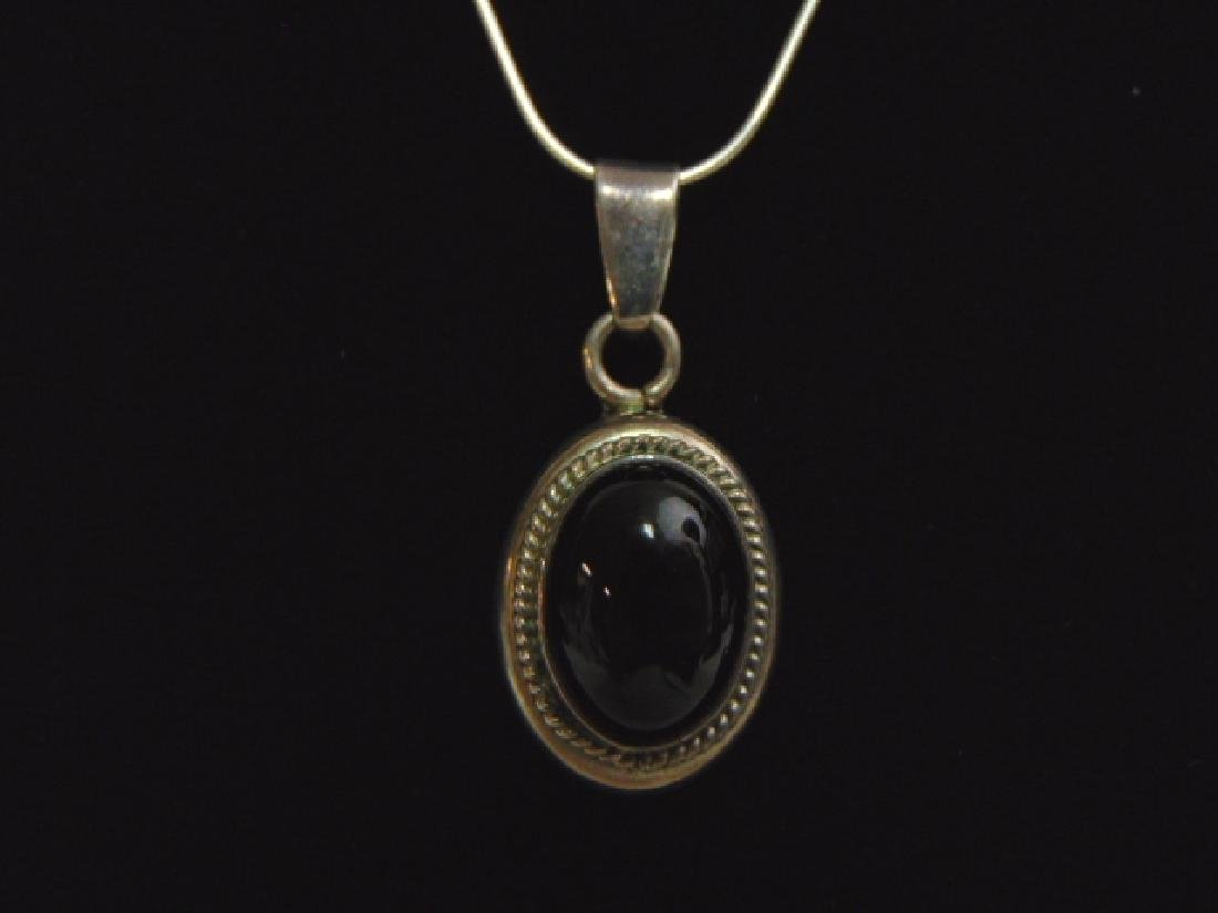 Sterling Silver Necklace w/ Onyx ? Pendant - 2