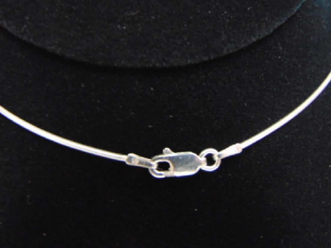 Sterling Silver Necklace w/ Onyx ? Pendant - 4
