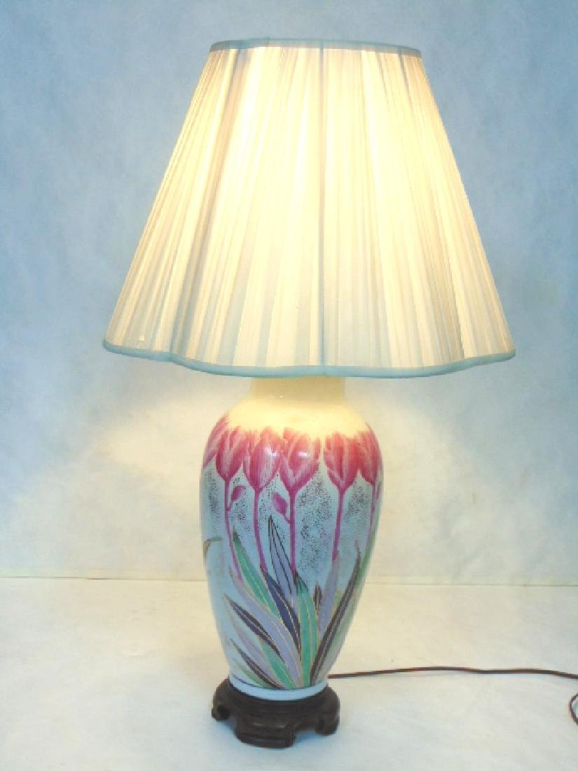 VINTAGE HAND DECORATED CHINESE FLORAL LAMP W/ ROSEWOOD - 2