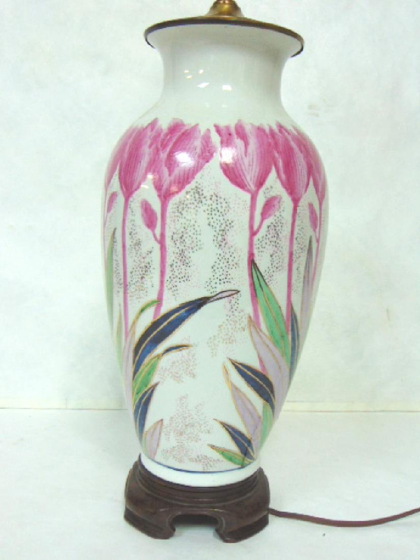 VINTAGE HAND DECORATED CHINESE FLORAL LAMP W/ ROSEWOOD - 5