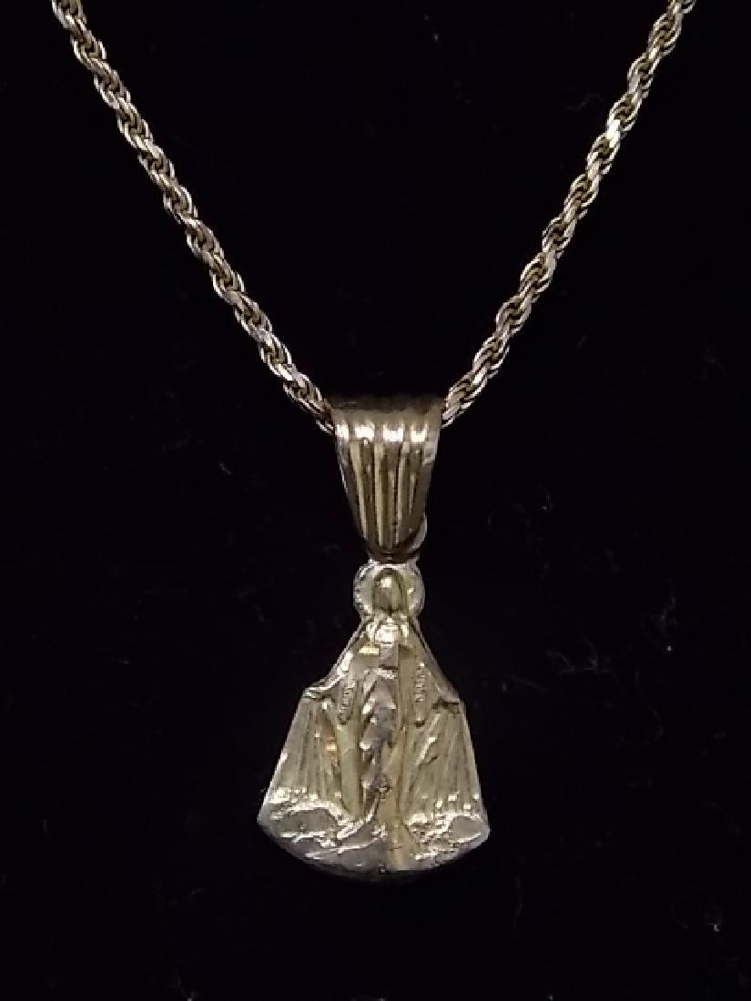 Vintage Estate14K Gold Necklace W/ Religious Pendant - 2