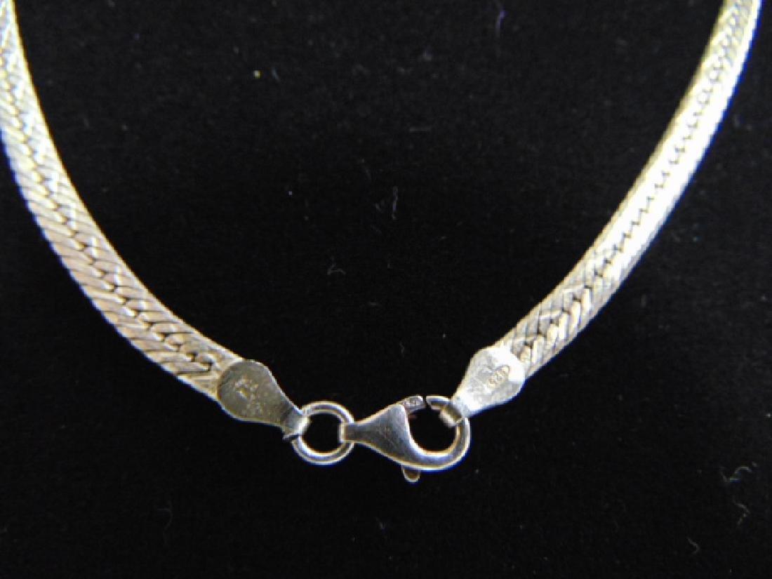 Vintage Sterling Silver Italian Herringbone Necklace - 3