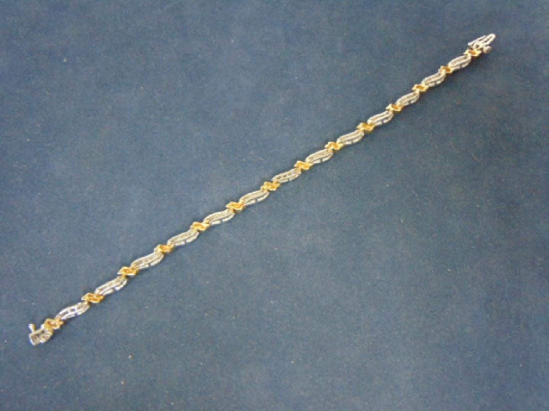 WOMENS VINTAGE 14K GOLD TENNIS BRACELET W/ DIAMONDS - 4