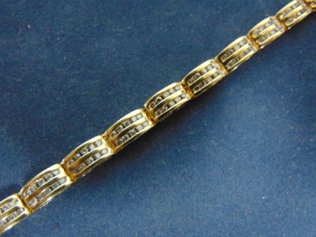 WOMENS VINTAGE 14K GOLD TENNIS BRACELET W/ DIAMONDS - 2