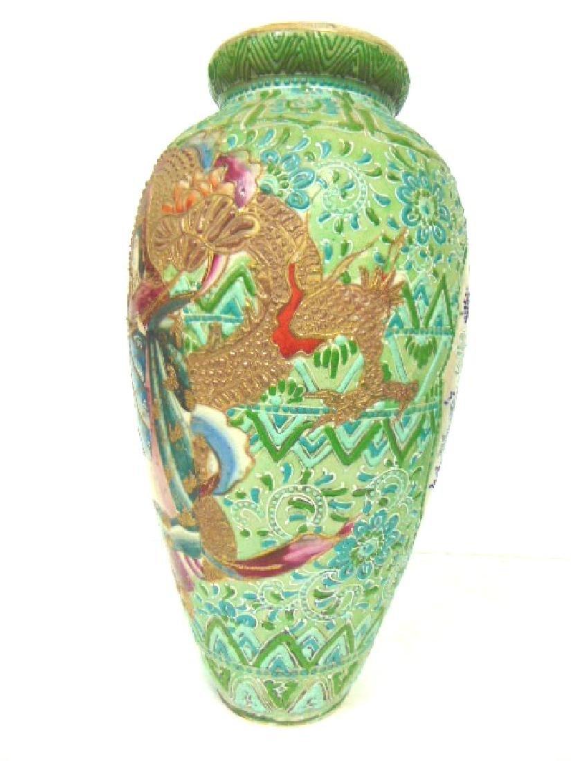 VINTAGE ANTIQUE JAPANESE SATSUMA LAMP BASE VASE - 4